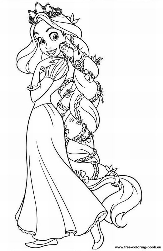 Coloring Pages Tangled Disney Rapunzel Page 1